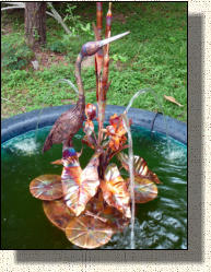 Model 10: Small copper egret fountain
