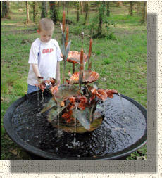"Model 4 Small copper fountain about 26"" wide and 36"" tall"